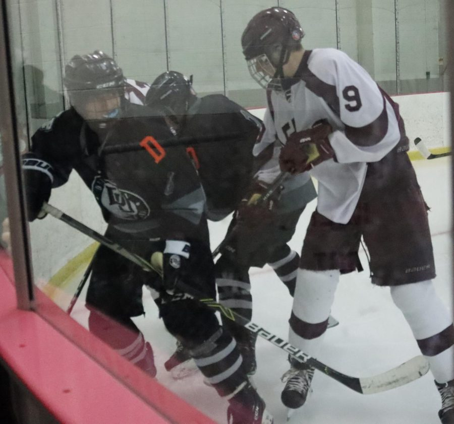 Sophomore Ashton Petrarca battling in the corner for the puck. He typically plays forward as a center.