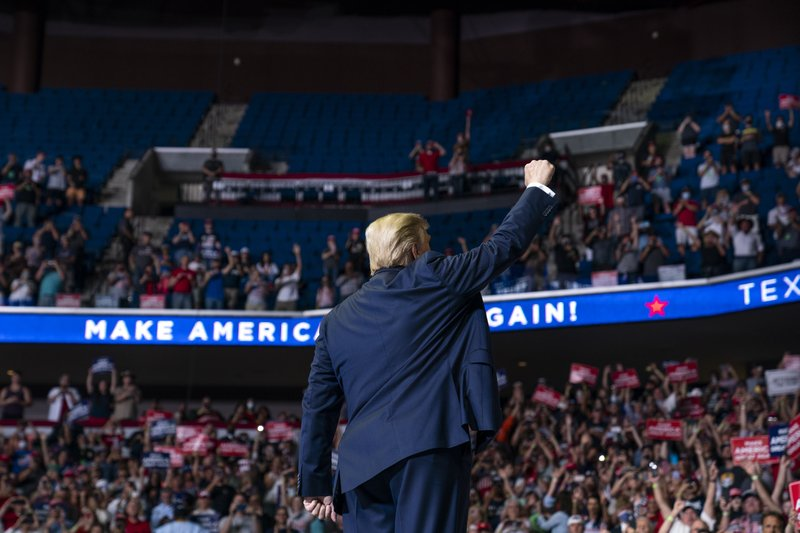 President+Trump+waves+to+a+crowd+of+supporters+in+Tulsa.+The+campaign+rally+was+met+with+criticism+amid+the+current+COVID+pandemic.