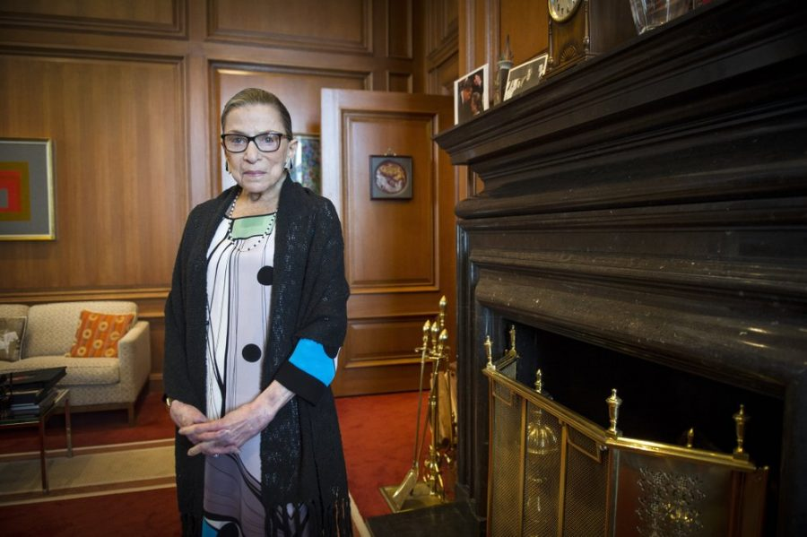 Justice Ginsburg in her Washington, D.C. Supreme Court chambers in 2014. File Photo from Associated Press.