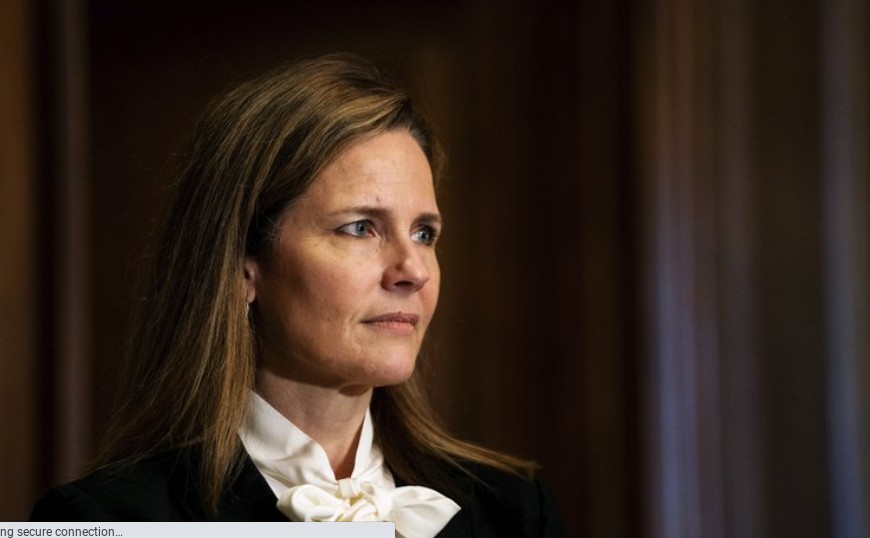 Amy Coney Barrett, Trump's proposed replacement for former Supreme Court Justice Ruth Bader Ginsburg. Picture from AP News.