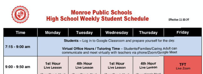 MHS announces schedule changes